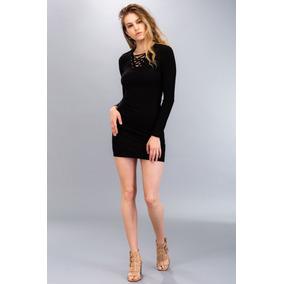 Vestido Casual Manga Larga Negro