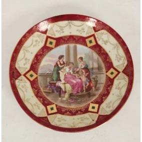 Antigo Prato Austríaco Em Porcelana Royal Vienna Com 33 Cm
