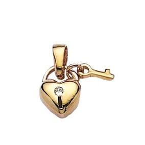 Pingente Coração Ouro( Branco + Amarelo ) 18k 750 1.0g - Colar no ... 21e9703515