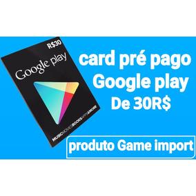 4aa3439187da Gift Card (cartão Pré Pago )google Play De 30 Reais