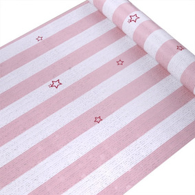 Papel Adesivo Contact Star Rose 45cm X 10mt X-ink Listras