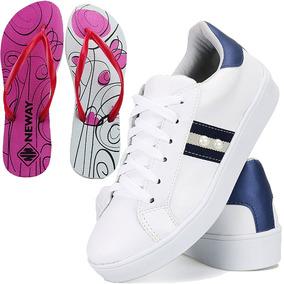 fa0fb361f6 Kit Tenis Sapatenis Feminino Branco Casual + Chinelo Neway