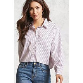 Forever 21 Blusa Camisa Blanca Y Rosa Rayas Ancha Algodon M