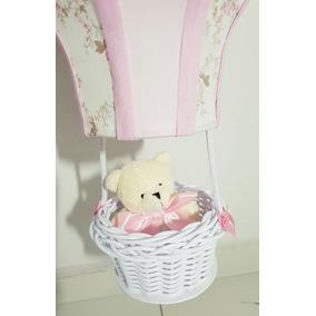 Lustre Quarto Bebê Balão Acinturado Decoração Floral E Rosa