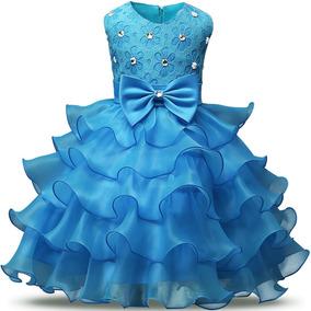 Vestido De Niña Azul Bodas Fiestas Nnjxd