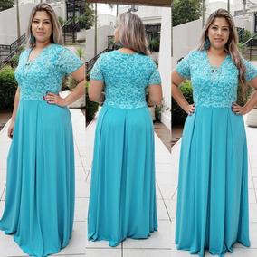eb39a56a0f Vestido Vermelho Renda - Vestidos Longos Femininas Azul-turquesa no ...