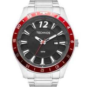 Relógio Technos Masculino Prata E Vermelho 2117lar/1p Barato