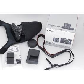 Camera Canon Eos M100 Kit 15-45 Preto+sd+case+bat. Extra!