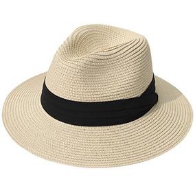 Lanzom Women Wide Brim Straw Panamá Roll Up Hat Playa Fedor d41a3fc0f49