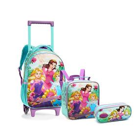 Kit Mochila Escolar Infantil Com Rodas Kt13947acq Princesa