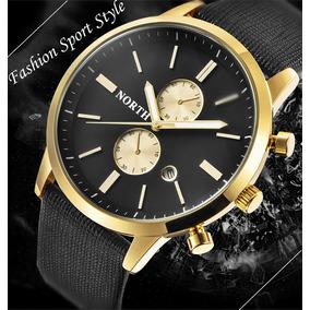Relógio Dourado Masculino Pulseira De Couro Luxo Men2019