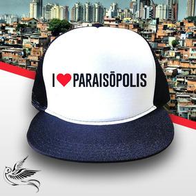 Boné I Love Paraisópolis Aba Reta Preto Branco Frete Grátis 98d48709f69