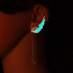 Brinco Ear Cuff Feminino Delicado Asa De Anjo Brilha Escuro