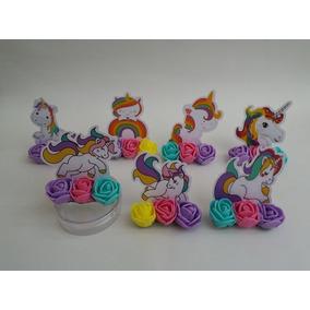 Aplique Unicornio Com Flores De Eva Em 3d 30 Un
