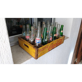 Cajón Coca Cola Vintage / Antiguo Con 24 Botellitas Varias 2