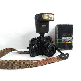 Antiga Câmera Analógica Zenit 122k Flash Filme Profissional