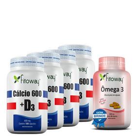 Cálcio 600+d3 Fitoway X 4 -180cáps+brinde Omega 3 - 30cáps.