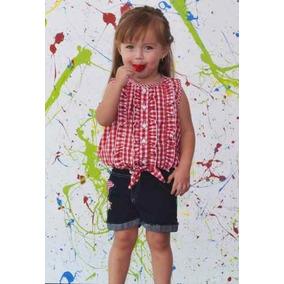 Conjunto Para Niña Shorts + Blusa A Cuadros Tallas 1a-3x