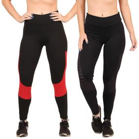 e5dc18578 Kit 5 Calça Legging Recorte Tela Academia Fitness Conforto