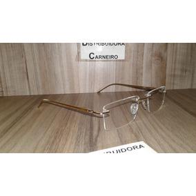 Armação Flutuante / Sem Aro Dourada P/ Lentes De Grau Óculos