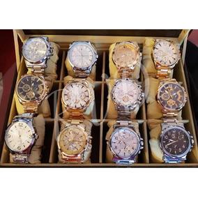 Kit C/ 05 Relógio Masculino Aço Atacado Revenda + Caixa