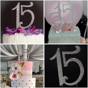 Cake Topper Adorno Pastel Numero 15 Quinceaños Plata /dorado