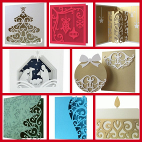 4 Kits + Arquivo Digital Corte Silhouette Cartões Natal 49