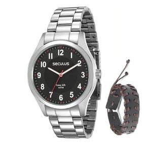 Relógio Seculus Masculino 28888g0svna1k1 + Pulseira