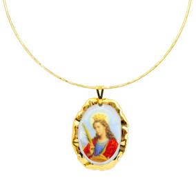 Medalha Santa Catarina Alexandria Ouro E Gargantilha Semijo