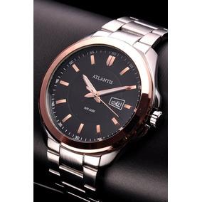 bca08ee0f3a Relogio Masculino Atlantis G3181 Prata Fundo Preto - Relógio ...
