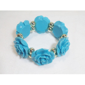 Pulsera Azul De Flores