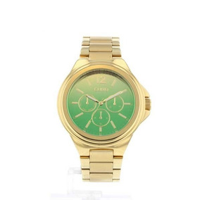 Relógio Feminino Euro Grande Dourado F. Verde Eu6p29agj/4c