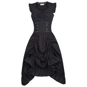 Vestido Vintage Negro Steampunk Gotico Victoriano Belle Poqu