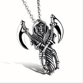 2x1 Dije Santa Muerte Acero Talismán Amuleto Protección