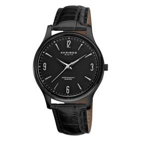 Reloj De Cuero Negro De Cuarzo Suizo Akribos Xxiv Ak539bk D