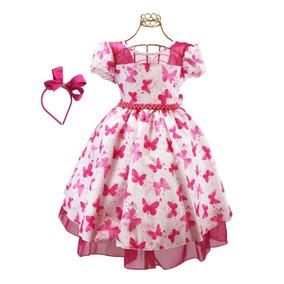 Vestido Infantil Floral Moda Evangélica + Laço Frete Grátis