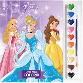 Livro Infantil Colorir Princesas Aquarela
