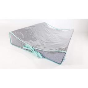 b0eb785551d65 Trocador Para Bebê Em Moletom Cinza + Laços Verde Tiffany