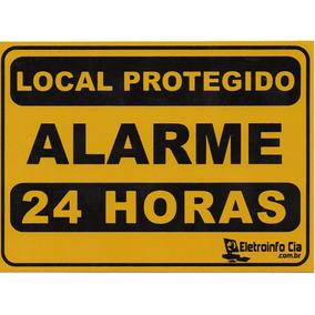 Placa Local Protegido Alarme 24 Horas 17,8x12,6cm Aluminio