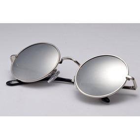 f094c547b9b50 Óculos De Sol Redondo Aro Prata Lente Espelhada - Óculos no Mercado ...