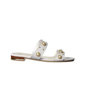 Calzado Dama Mujer Sandalia Clasben Tipo Piel Blanco Casual