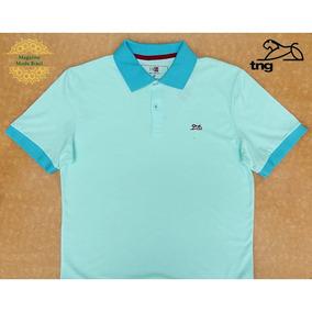 Camisa Polo Masculina Tng Básica Contraste Verde Menta 0e9f21fd4c920