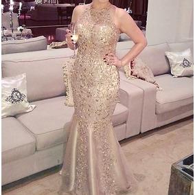 Vestido Madrinha Longo De Renda Com Pedraria Dourado