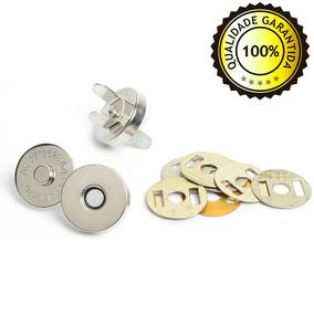 100 Botão Magnético 14mm Imã Niquelado Bolsa Carteira Tecido