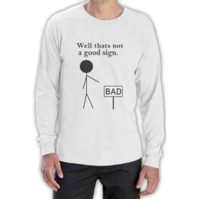 No Un Buena Señal Manga Larga Camiseta Gag Stickpeople d2aa3434a08cd
