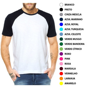 Kit 16 Camisetas Raglan Manga Curta Colorida P  Sublimação ce12a0b08fc64