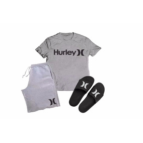 Kit Camisa + Bermuda + Chinelo Slide Hurley Surfwear Top 3ebd87edbb8