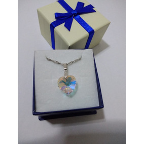 Colar Coração Cristal Swarovski Aurora Boreal 1,4 Cm