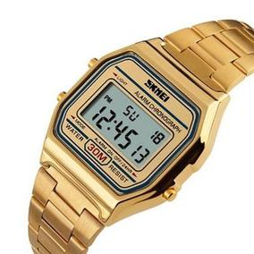 Relógio Feminino Masculino Digital Vintage Dourado Original