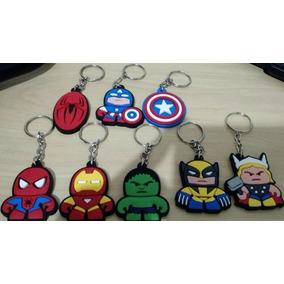 Kit 10 Chaveiros Borracha Super Heróis Escudos Vingadores